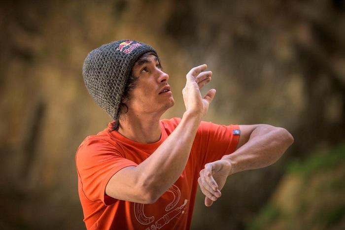 David Lama rehearses the moves of his climb Avaatara (5.14d) in Lebanon.