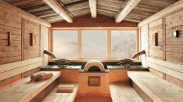 Zimní Hintertux viděný přes okno sauny má něco do sebe.